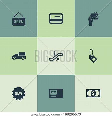 Elements Plastic Money, Label, Sign And Other Synonyms Card, Delivery And Bank.  Vector Illustration Set Of Simple Purchase Icons.