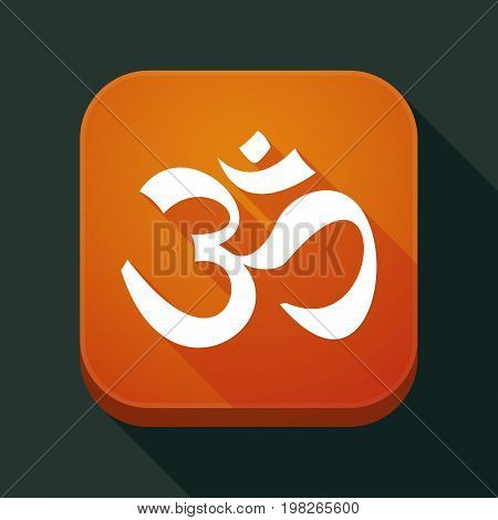 Long Shadow App Button With An Om Sign