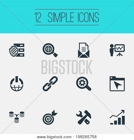 Elements Chain, Seek, Gear And Other Synonyms Project, Scan And Chain.  Vector Illustration Set Of Simple Search Icons.