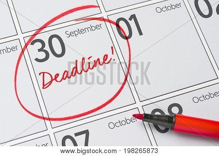Deadline Written On A Calendar - September 30