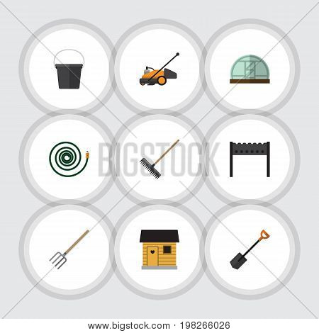 Flat Icon Garden Set Of Hay Fork, Hothouse, Barbecue And Other Vector Objects