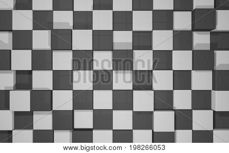 Abstract beautiful creative background of black and grey random extended and dented cubes wall with reflections for desktop site banner backdrop. 3d Render Illustration