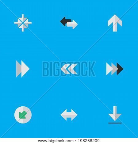 Elements Forward, Upwards, Inside And Other Synonyms Ahead, Download And Northwest.  Vector Illustration Set Of Simple Cursor Icons.