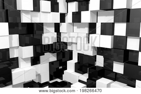 Abstract beautiful creative background of black and white random extended and dented cubes corner of two intersection walls with reflections for desktop site banner. 3d Render