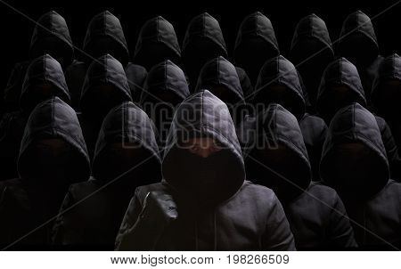 Many thieves on black background