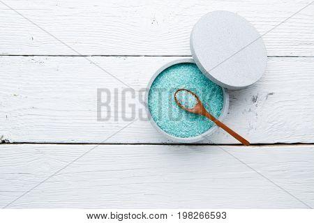 Turquoise salt on white table