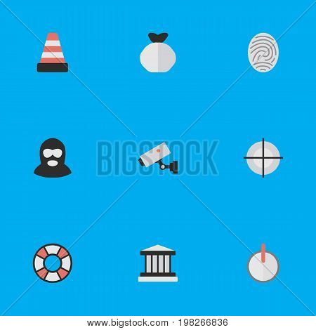 Elements Safe, Criminal, Isolated And Other Synonyms Grille, Security And Lifeguard.  Vector Illustration Set Of Simple Offense Icons.