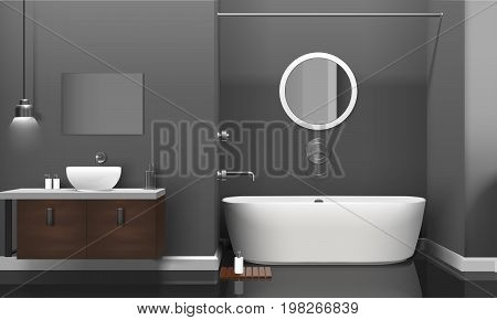 Modern realistic bathroom interior design with white sanitary equipment, shelves on grey wall and mirror vector illustration