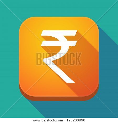 Long Shadow App Button With A Rupee Sign