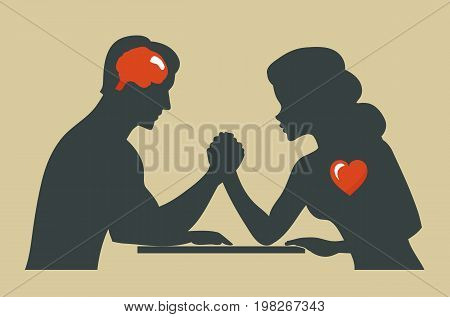 Heart or brain. Man and woman. Silhouette of Conflict between couple
