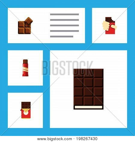 Flat Icon Sweet Set Of Dessert, Shaped Box, Cocoa And Other Vector Objects