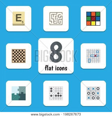 Flat Icon Games Set Of Jigsaw, Mahjong, Sea Fight And Other Vector Objects