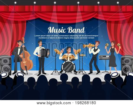 Cartoon colored musician illustration with music band performs on stage in front of a crowd vector illustration