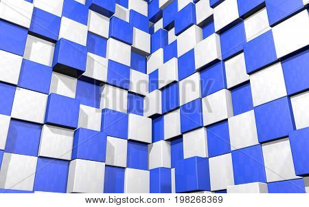 Abstract beautiful creative background of blue and white random extended and dented cubes corner of two intersection walls with reflections for desktop site banner. 3d Render