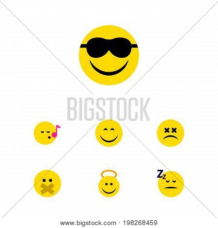 Flat Icon Gesture Set Of Descant, Cross-Eyed Face, Smile And Other Vector Objects