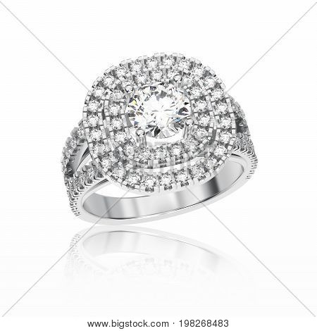 3D illustration isolated white gold or silver halo ring with diamonds with reflection on a white background