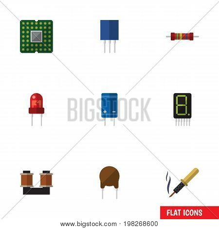 Flat Icon Device Set Of Transistor, Display, Repair And Other Vector Objects