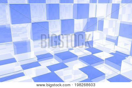 Abstract beautiful creative background of luminous white and blue extended and dented cubes wall room with reflections for desktop site banner backdrop. 3d Render Illustration