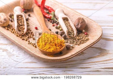 Indian Asian Spices And Chili. Copyspace. Horizontal View