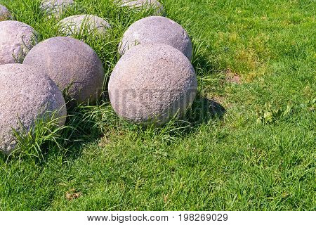 old stone kernels for ancient artillery weapon and for gun