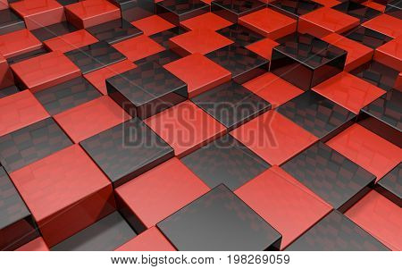 Abstract beautiful creative background of red and black extended and dented cubes floor into room with reflections for desktop site banner backdrop. 3d Render Illustration