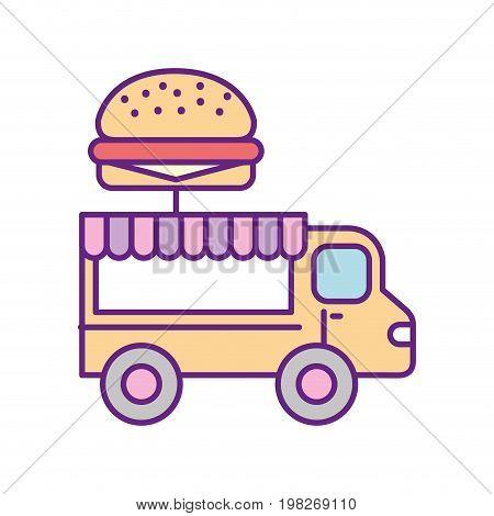 fast food shop car vector illustration design
