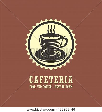 Cafeteria logo design concept with cup of coffee drawing. Best coffee in town creative vector symbol.