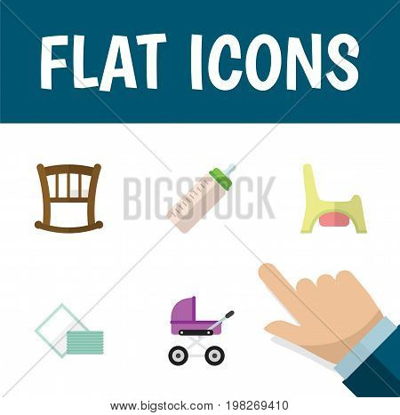 Flat Icon Baby Set Of Stroller, Infant Cot, Toilet And Other Vector Objects