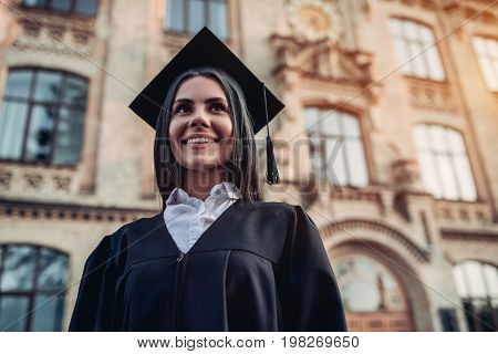 Female Graduate Near University