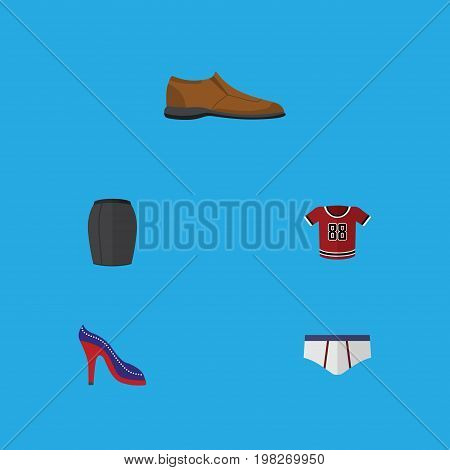 Flat Icon Garment Set Of Heeled Shoe, Underclothes, T-Shirt And Other Vector Objects
