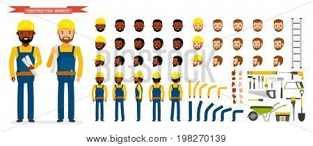 Construction worker Character creation set. Male worker in blue overall, Various poses and emotions, running, standing, walking, working. Full length, front, rear view. Vector. Cartoon flat style.