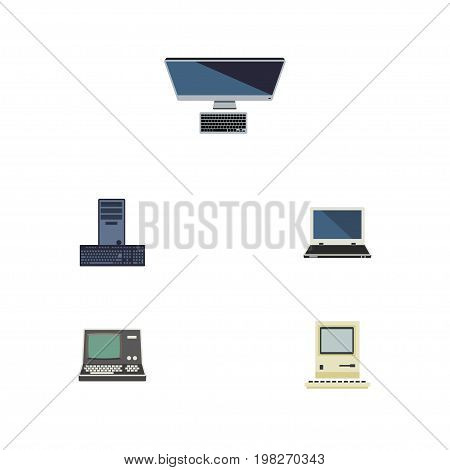Flat Icon Computer Set Of PC, Computing, Notebook And Other Vector Objects