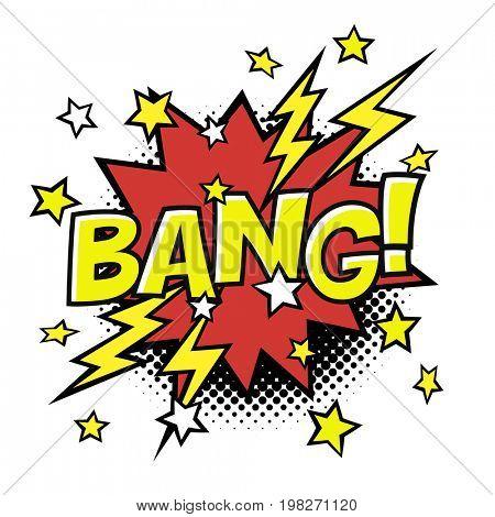 BANG! comic sound in speech bubble. Comic text.  raster bubble icon speech phrase. Comics book balloon. Halftone background.