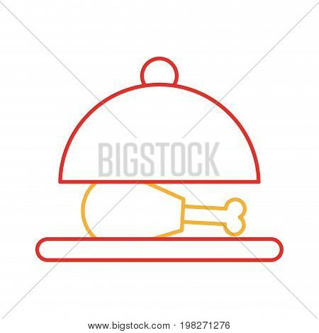 tray with delicious chicken isolated icon vector illustration design