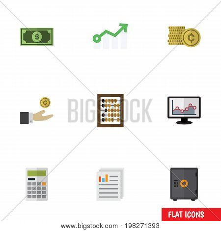 Flat Icon Incoming Set Of Chart, Greenback, Growth And Other Vector Objects