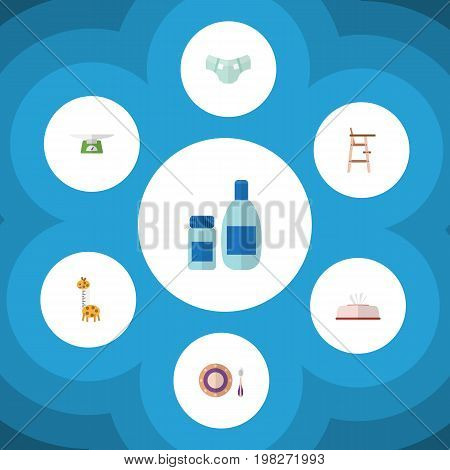 Flat Icon Kid Set Of Nappy, Baby Plate, Cream With Lotion And Other Vector Objects
