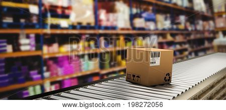 Packed cardboard box on production line against warehouse isle