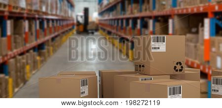 Group of digitally generated brown cardboard boxes against forklift loading boxes