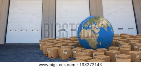 3D image of globe amidst cardboard boxes against closed door of warehouse