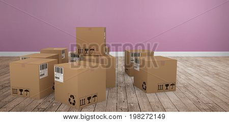 Group of illustrated cardboard boxes against room with wooden floor