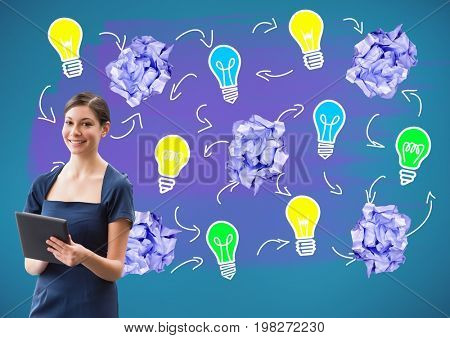 Digital composite of Woman on tablet standing next to light bulbs with crumpled paper balls