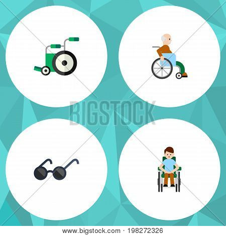 Flat Icon Handicapped Set Of Equipment, Handicapped Man, Disabled Person Vector Objects