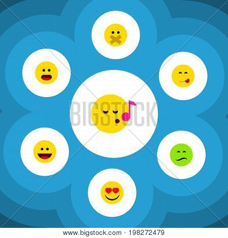 Flat Icon Expression Set Of Laugh, Wonder, Descant And Other Vector Objects