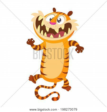 Cute cartoon tiger character. Wild animal collection. Baby education. Isolated. White background. Flat design Vector illustration
