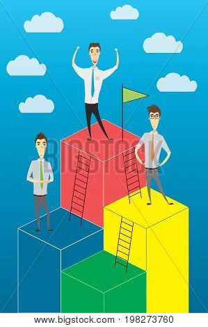 Business Growth or career ladder, cartoon businessman , success concept, stock vector illustration