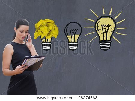 Digital composite of Woman on phone standing next to light bulbs with crumpled paper ball in front of blackboard