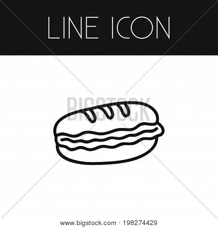 Burger Vector Element Can Be Used For Burger, Sandwich, Cheeseburger Design Concept.  Isolated Hamburger Outline.
