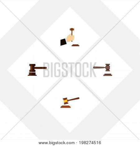 Flat Icon Hammer Set Of Government Building, Hammer, Law And Other Vector Objects