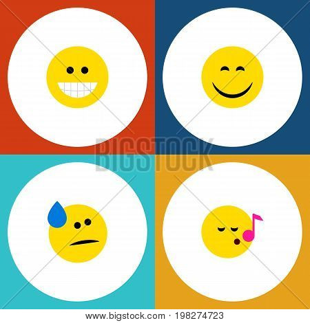 Flat Icon Gesture Set Of Descant, Tears, Smile And Other Vector Objects