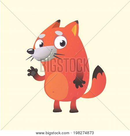 Cute cartoon fox mascot character. Vector illustration of an orange fox waving hand. Isolated on white. Character for  sticker print or banner.